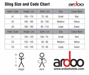 Sizing Chart for Slings for the Ardoo 140 Mobility Hoist