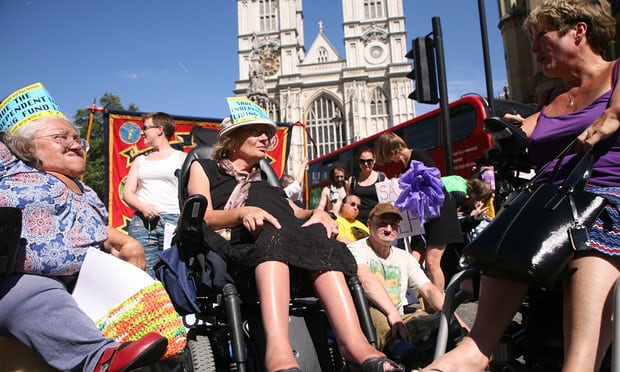 Image of women in wheelchairs protesting