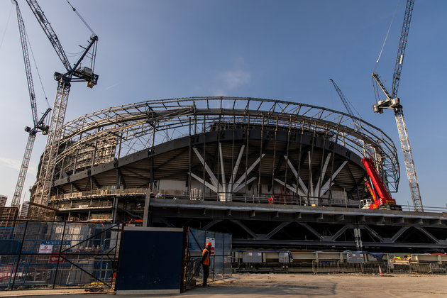 Image of ongoing contruction of Tottenham Hotspur's new White Hart Lane stadium in London